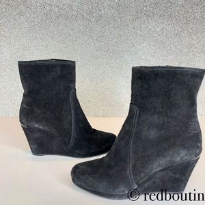 Prada black suede wedge boots ankle booties